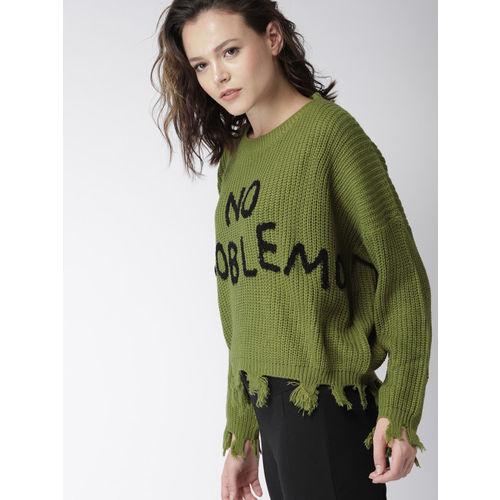 Harvard Women Olive Green Printed Pullover