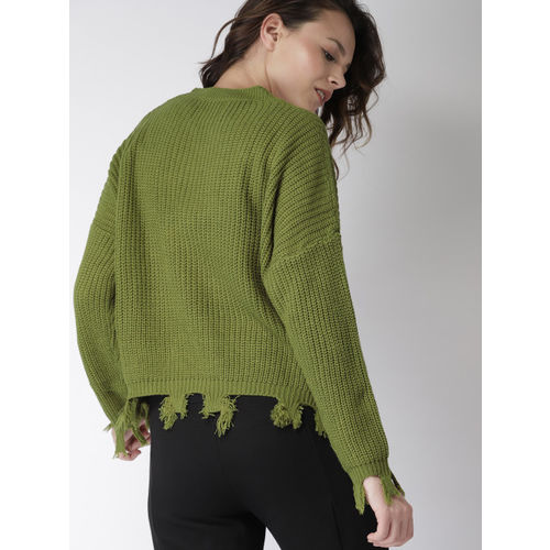 Harvard Women Olive Green Printed Pullover