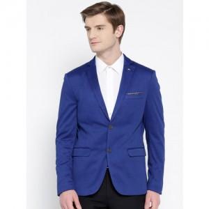 Arrow Men Blue Slim Fit Single-Breasted Blazer