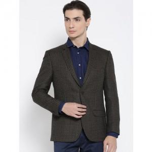 Arrow Black And Beige Geometric Pattern Regular Fit Single-Breasted Formal Blazer