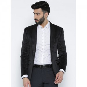 Park Avenue Black Single-Breasted Super Slim Fit Party Blazer