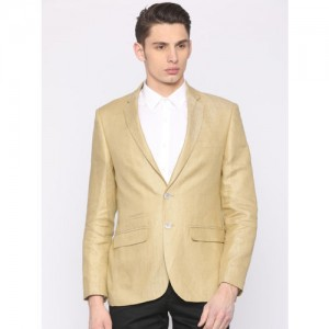 Park Avenue Gold-Toned Self-Design Single-Breasted Super Slim Fit Party Blazer