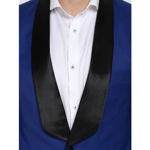 MR BUTTON Men Blue Solid Tuxedo Blazer