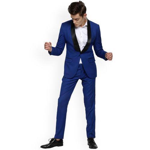 MR BUTTON Men Blue Solid Tuxedo Blazer
