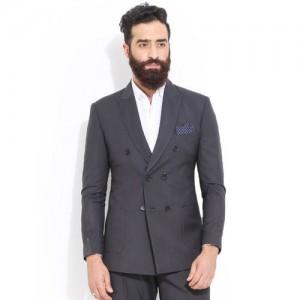 MR BUTTON Charcoal Grey Slim Fit Blazer