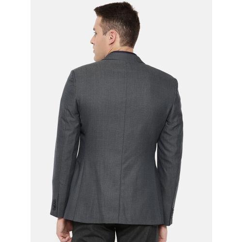 Raymond Men Navy Blue Self-Design Single-Breasted Slim Fit Formal Blazer