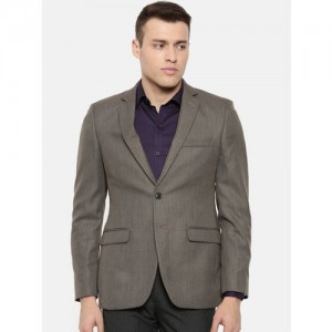Raymond Brown Self Design Slim Fit Single-Breasted Formal Blazer
