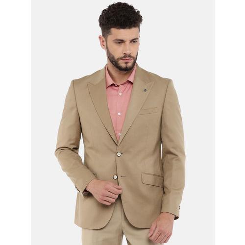 Raymond Men Khaki Single Breasted Solid Formal Blazer