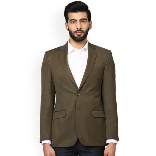 Raymond Men Olive Green Single-Breasted Regular Fit Casual Blazer
