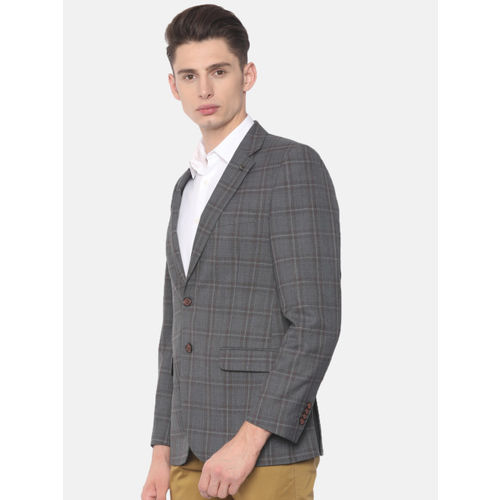 Raymond Grey Checked Contemporary Fit Single-Breasted Formal Blazer