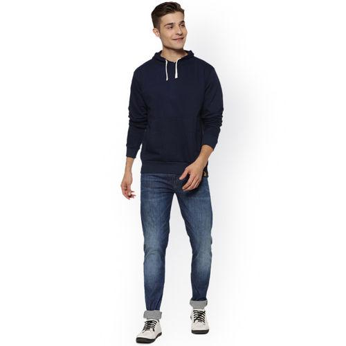 Campus Sutra Men Navy Blue Solid Hooded Sweatshirt