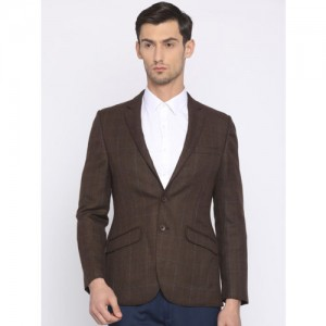 Raymond Raymod Brown Checked Tailored Slim Fit Single-Breasted Formal Blazer