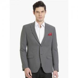 SUITLTD Men Grey & Black Self-Design Blazer