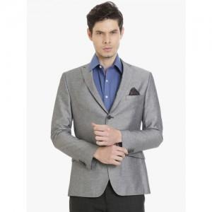 SUITLTD Men Grey Solid Slim Fit Single Breasted Casual Blazer