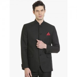 SUITLTD Men Black Solid Slim Fit Bandhgala Blazer