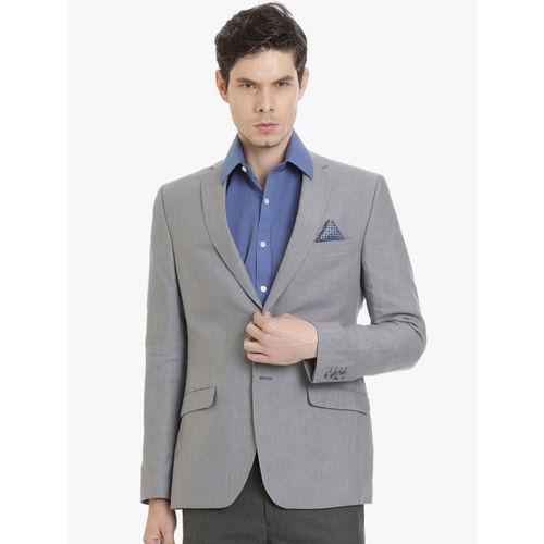 SUITLTD Men Grey Single Breasted Linen Formal Blazer