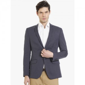SUITLTD Men Navy Blue Single Breasted Formal Blazer