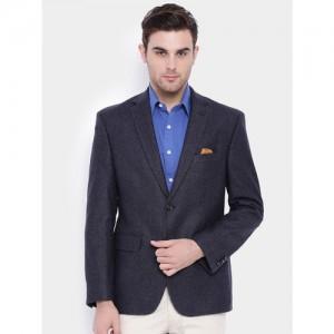 SUITLTD Grey Self-Design Regular Fit Single-Breasted Formal Blazer