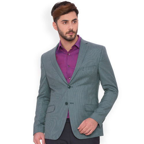 SUITLTD Grey Checked Single-Breasted Slim Fit Formal Blazer