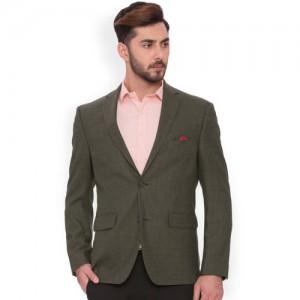 SUITLTD Olive Textured Single-Breasted Regular Fit Formal Blazer