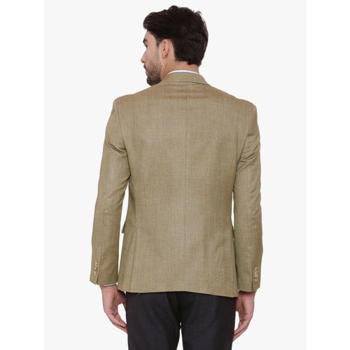 SUITLTD Brown Regular Fit Single-Breasted Self Design Regular Fit Formal Blazer