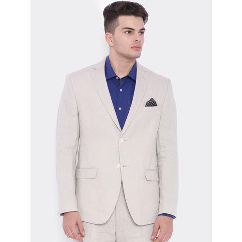 SUITLTD Beige Linen Regular Fit Single-Breasted Formal Blazer