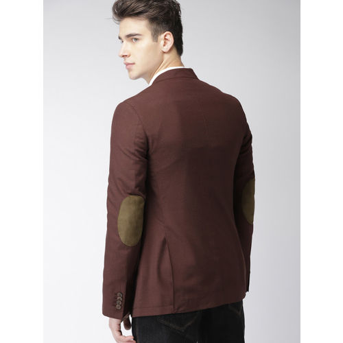 Mast & Harbour Men Brown Single-Breasted Solid Blazer