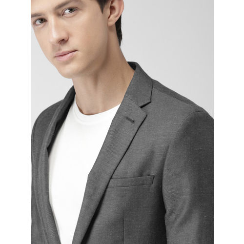 Mast & Harbour Grey Single-Breasted Casual Blazer