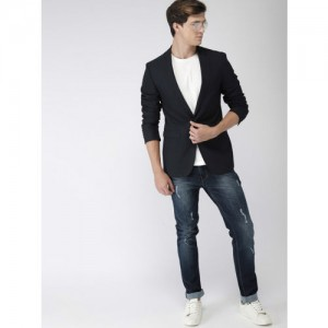 Mast & Harbour Navy Blue Solid Regular Fit Single-Breasted Casual Blazer
