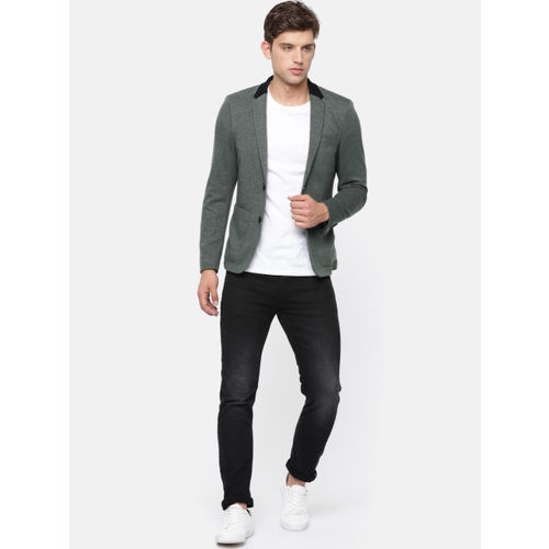 Jack & Jones Men Charcoal Grey Self Design Slim Fit Single-Breasted Casual Blazer