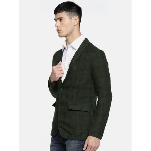 Jack & Jones Olive Green Checked Single-Breasted Casual Blazer