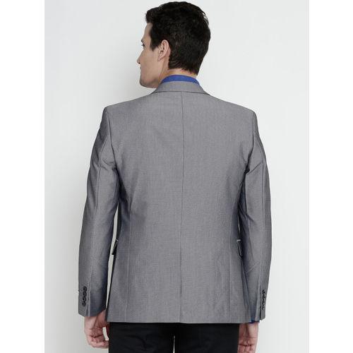 Jack & Jones Grey Self-Design Single-Breasted Party Blazer