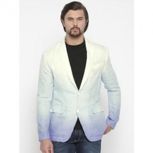 Jack & Jones White & Blue Linen Ombre-Dyed Single-Breasted Linen Casual Blazer