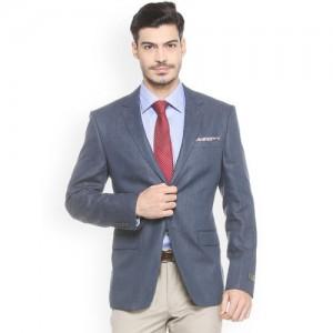 Van Heusen Blue Single-Breasted Linen Slim Fit Blazer