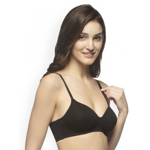 3c146a488a0 Buy Amante Black Solid Non-Wired Lightly Padded T-shirt Bra online ...
