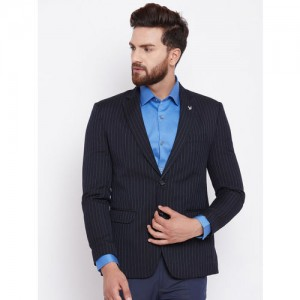 Canary London Black Slim Fit Single-Breasted Striped Blazer