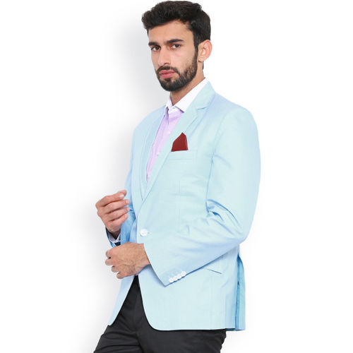 Shaftesbury London Blue Regular Fit Single-Breasted Blazer