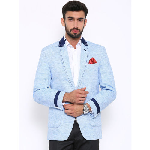 Shaftesbury London Men Blue Regular Fit Single-Breasted Casual Blazer