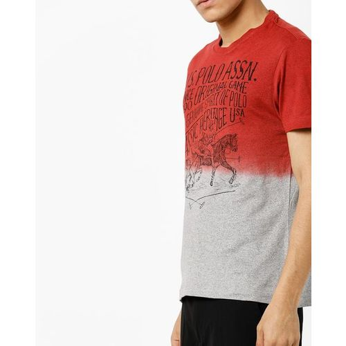 U.S. Polo Assn. Printed Crew-Neck T-shirt with Ombre-Dyed Effect