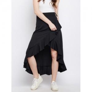 Berrylush Women Black Solid Ruffled Maxi Skirt