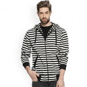 Campus Sutra Men White & Black Striped Hooded Sweatshirt