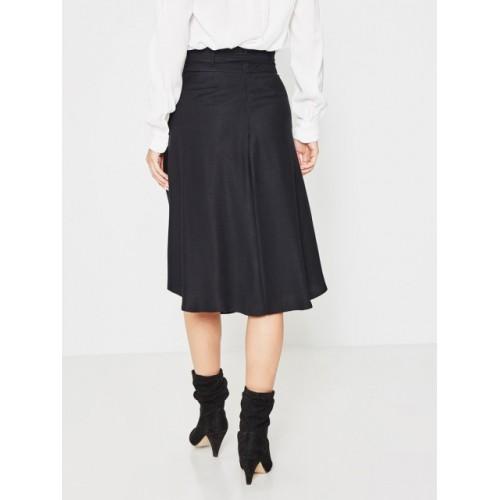 promod Women Black Solid A-Line Skirt