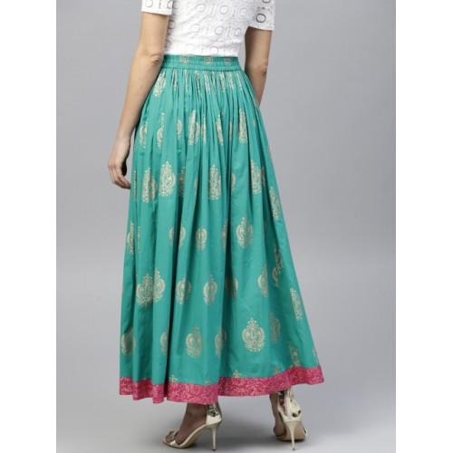 7ab8727fa Buy Nayo Women Green & Golden Printed Maxi Flared Skirt online ...
