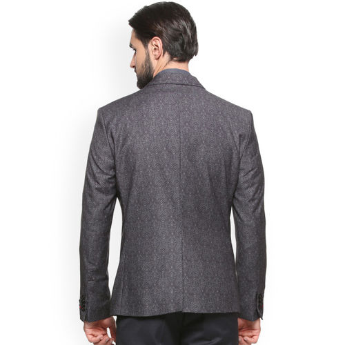 V Dot Men Grey Printed Single-Breasted Formal Blazer
