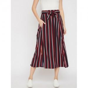 RARE Women Maroon & Navy Blue Striped A-Line Maxi Skirt