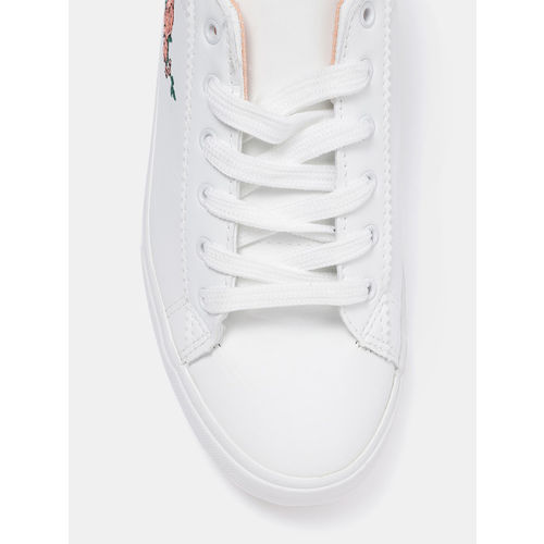DressBerry Women White Sneakers with Embroidered Detail