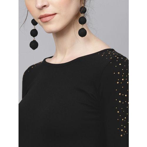 Sassafras Black Cotton Bodycon Dress