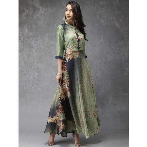Anouk Women Green Printed Anarkali Kurta