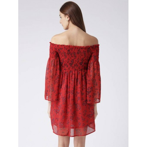KASSUALLY Red Polyester Fit and Flare Dress