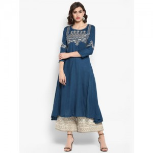 Varanga Women Teal Blue & Beige Embroidered Kurta with Palazzos